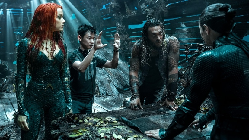 James Wan on sets of Aquaman. Image from Twitter