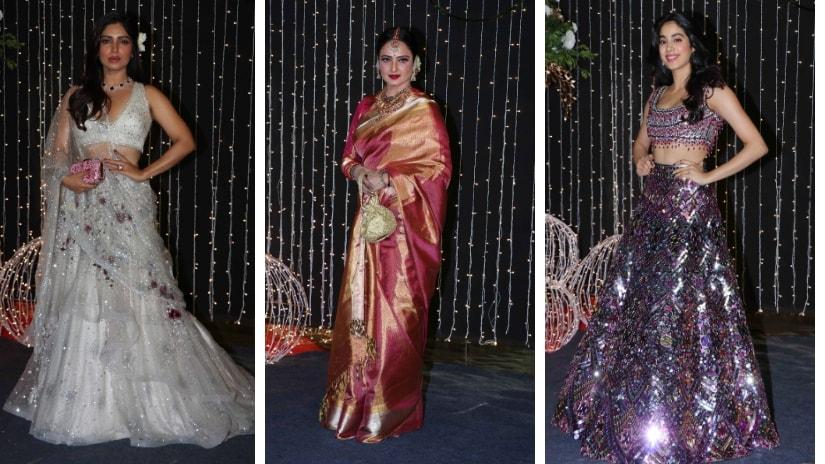Parineeti Chopra, Rekha, Jahnvi Kapoor at Priyanka-Nick's wedding reception. Firstpost/@Sachin Gokhale