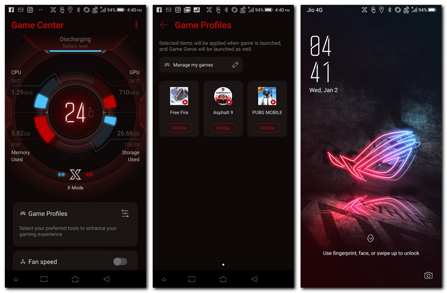 ROG Phone Game Center and lock screen.