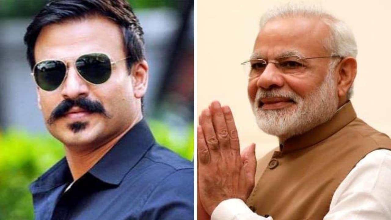 Vivek Oberoi (left) and Narendra Modi. Images via Twitter