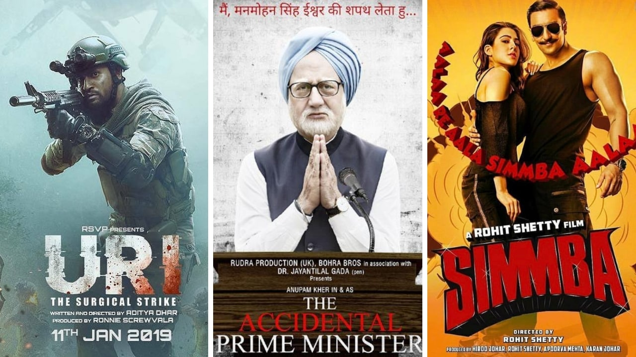 (left-right) Posters of Uri: The Surgical Strike, The Accidental Prime Minister and Simmba. Twitter