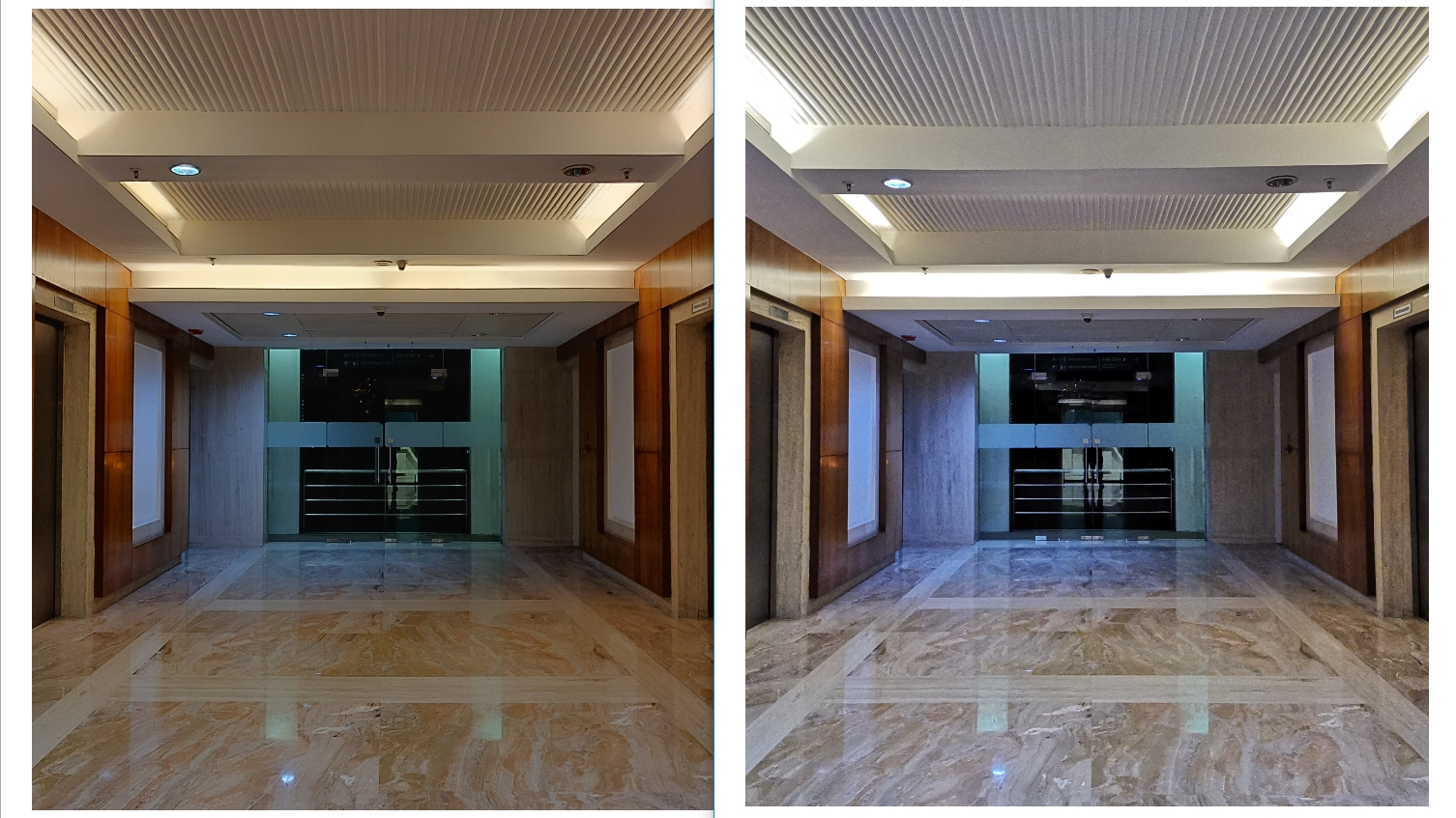 Honor View 20 (L), OnePlus (R): There's just too much noise in Honor's Night Mode. Image: tech2/Sheldon Pinto