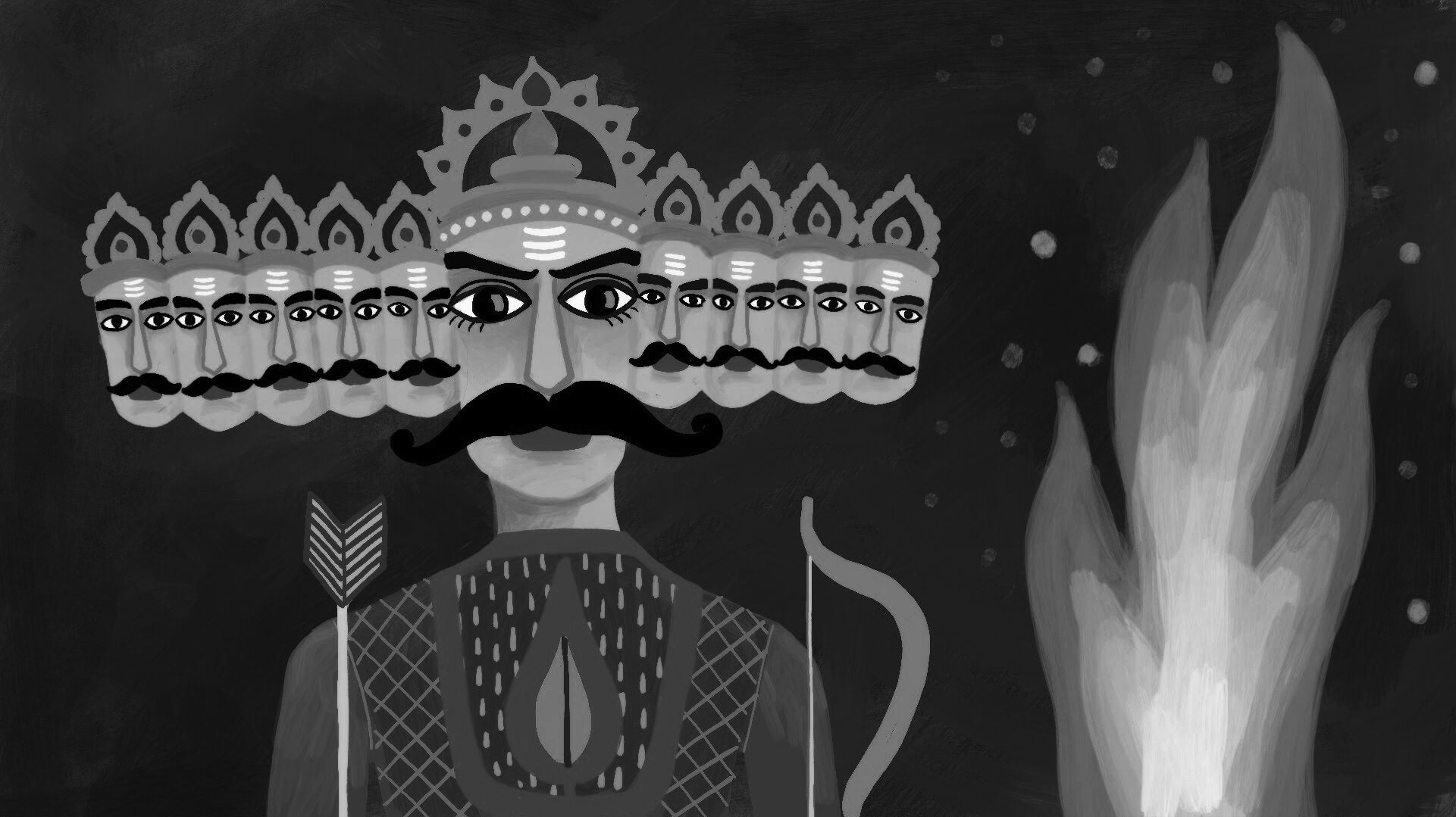 In 'The Crocodile', Gulzar tells a story of smoke and fire during Dussehra