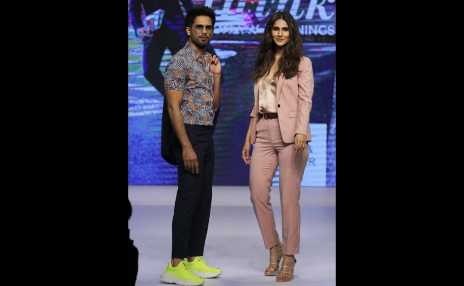 While Shahid sported a bright printed shirt with black trousers, Vaani was seen in a peach coat. Photo: Sachin Gokhale/Firstpost