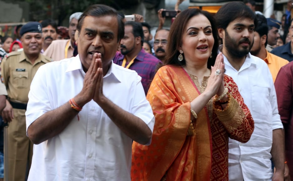 Mukesh and Nita Ambani greet media after their visit to Siddhivinayak Temple. Photo: Firstpost/ Sachin Gokhale