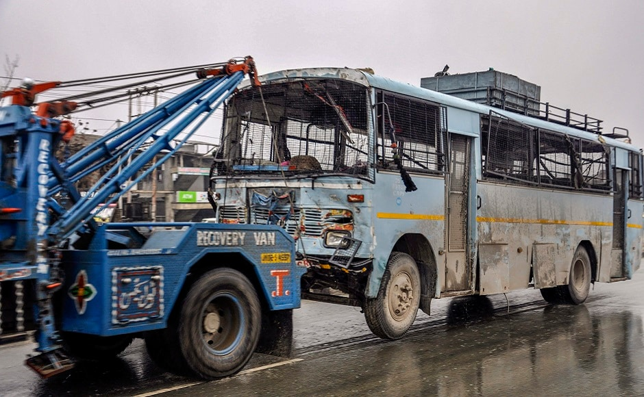 Dar was driving a vehicle packed with explosives on the wrong side of the road and hit the bus, in which an estimated 39-44 personnel were travelling, head-on. 'There are no survivors from the bus,' an official said. PTI