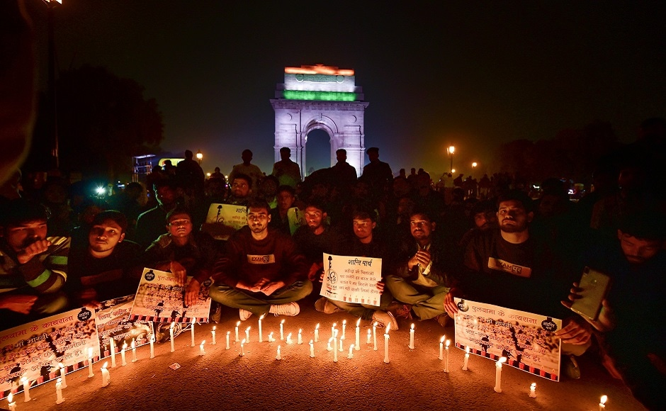 Hundreds of people from all walks of life on Friday gathered at India Gate and Jantar Mantar to hold candle light marches to express solidarity with the families of the jawans killed. PTI