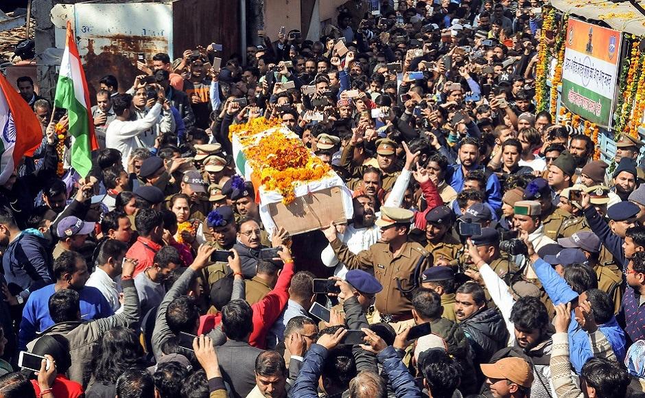 A large gathering during the cremation of slain CRPF Jawan Kaushal Kumar Rawat in Agra. PTI