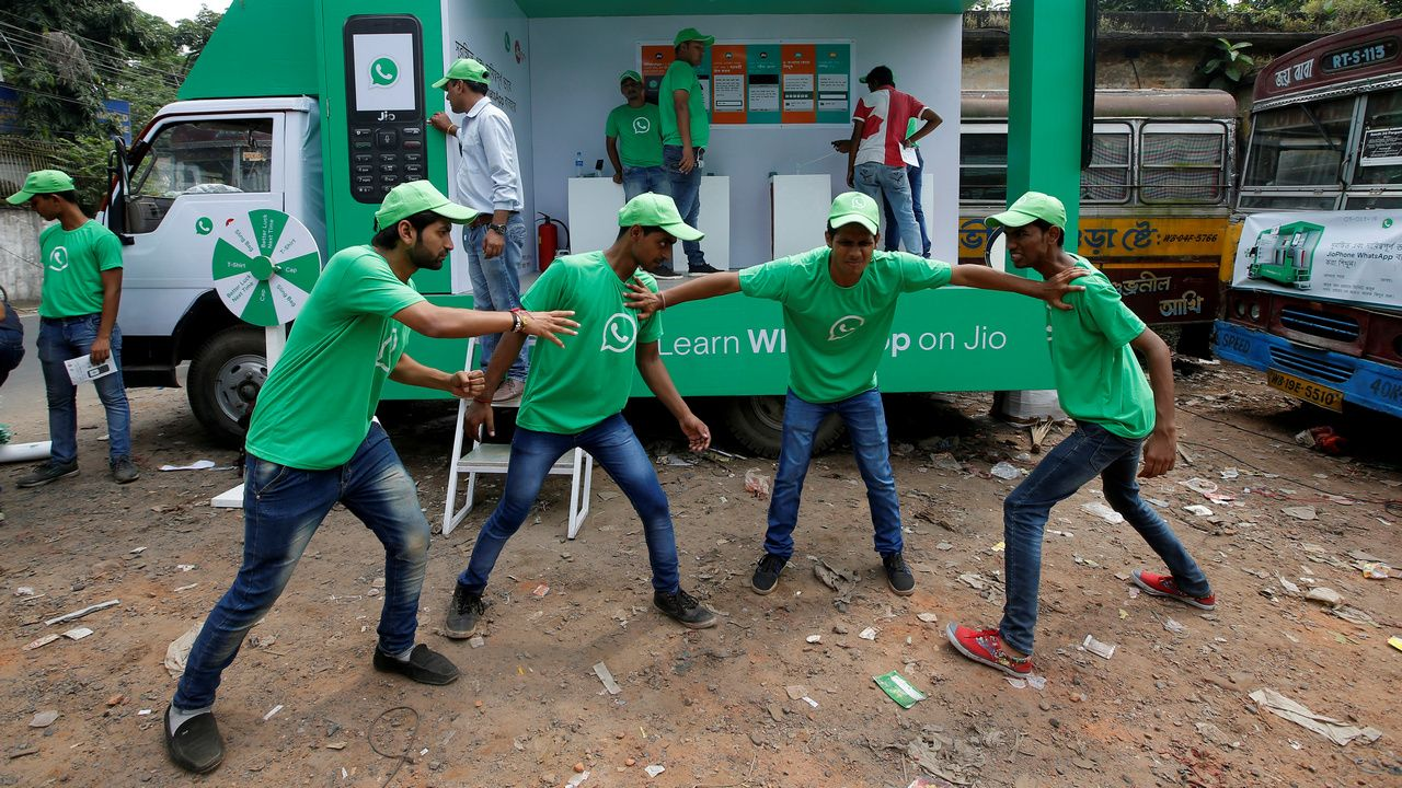 WhatsApp conducting street plays to educate users. Image: Reuters