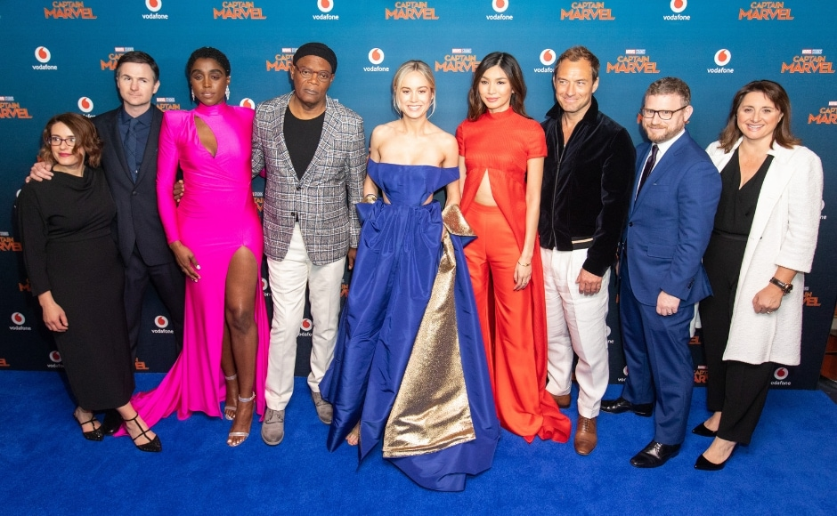 Captain Marvel cast during the London premiere