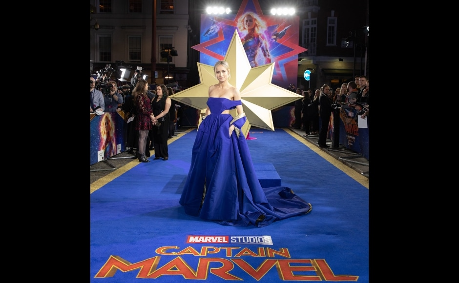 Brie Larson attends London premiere of Captain Marvel