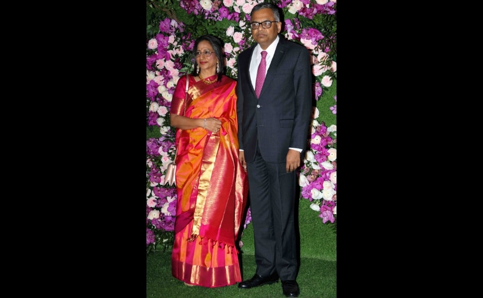 Tata chairperson Natarajan Chandrasekaran arrives with wife at the venue. Photo: Sachin Gokhale