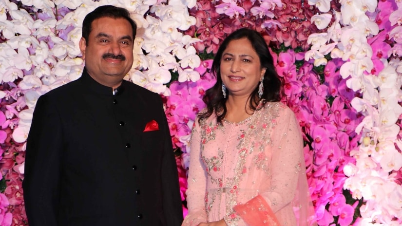 Chairman of Adani Group, Gautam Adani with wife Priti at the reception. Firstpost/@Sachin Gokhale