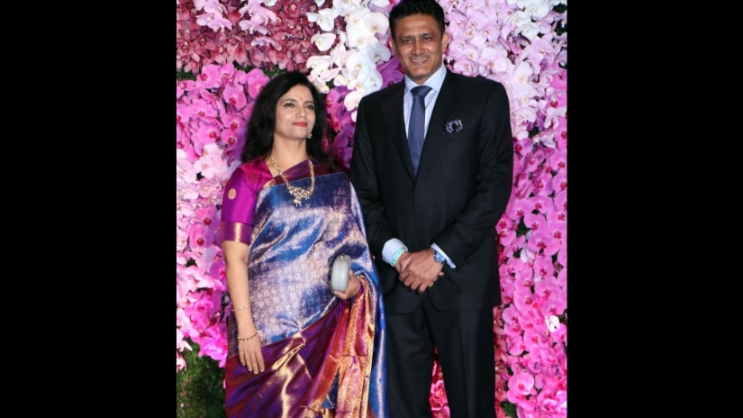 Anil Kumble with wife Chethana Ramatheertha attend Akash-Shloka's reception held in Mumbai. Firstpost/@Sachin Gokhale