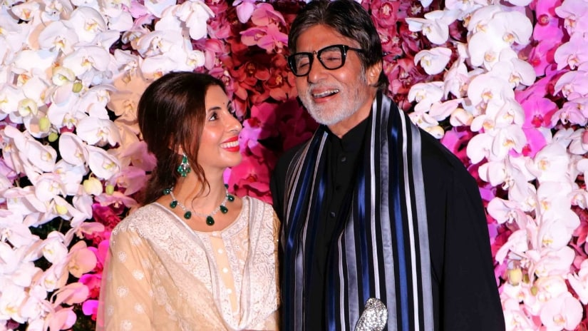Amitabh Bachchan with his daughther Shweta Bachchan Nanda at Anand-Shloka's wedding reception in Mumbai. Firstpost/@Sachin Gokhale