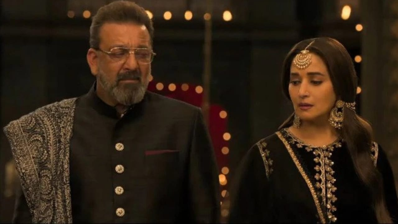 Sanjay Dutt and Madhuri Dixit in a still from Kalank. YouTube screengrab