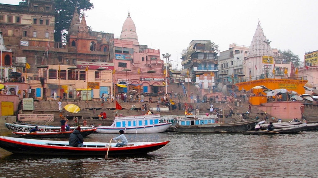 The famed ghats on the Ganga at Varanasi, the holy city of Hindus, are unfit for bathing, although there has been some cosmetic cleaning of the ghats in recent months. Photo courtesy Soumya Sarkar
