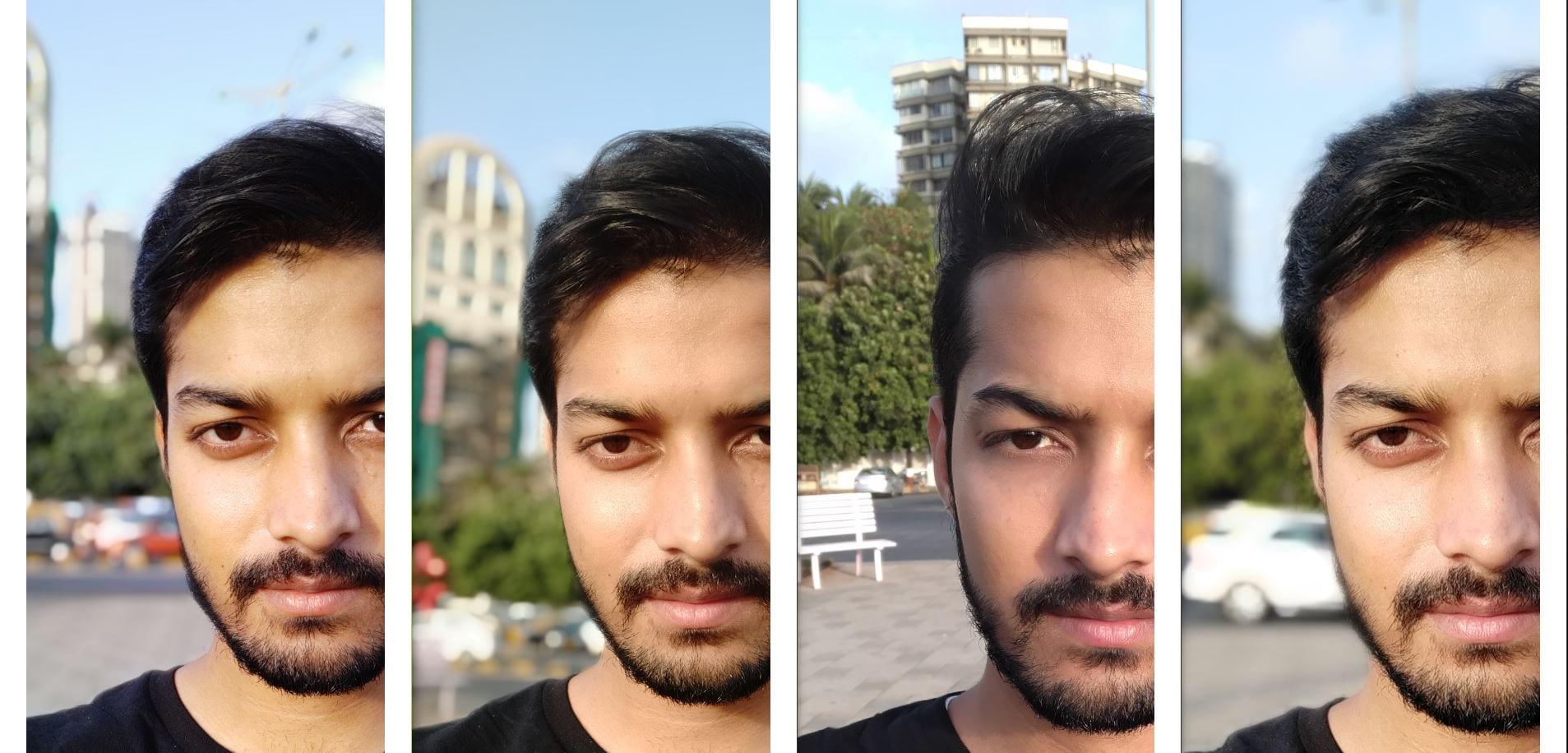 (L-R) Redmi Note 7 Pro, Redmi Note 6 Pro, Asus Zenfone Max Pro M2, Realme 2 Pro: Portrait mode on the selfie camera