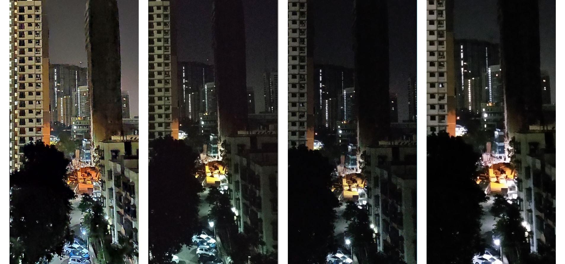 (L-R) Redmi Note 7 Pro, Redmi Note 6 Pro, Asus Zenfone Max Pro M2, Realme 2 Pro: Night cityscape on auto mode
