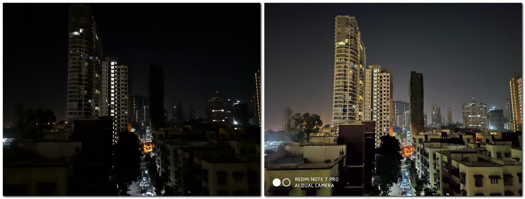 Low-light shot comparison: (L-R) Galaxy M30, Redmi Note 7 Pro (night mode)