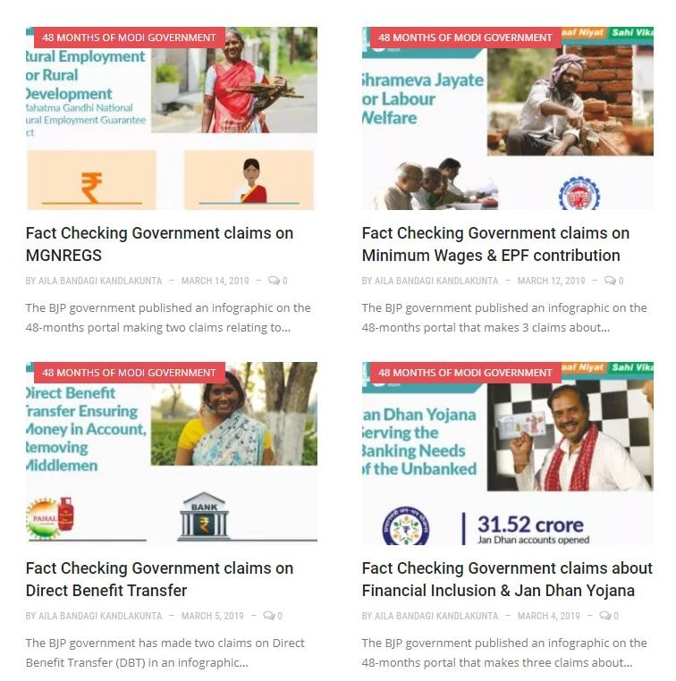 Factly has a section called '48 Months of Modi Government' which gives a report card on all the claims made by the govt.