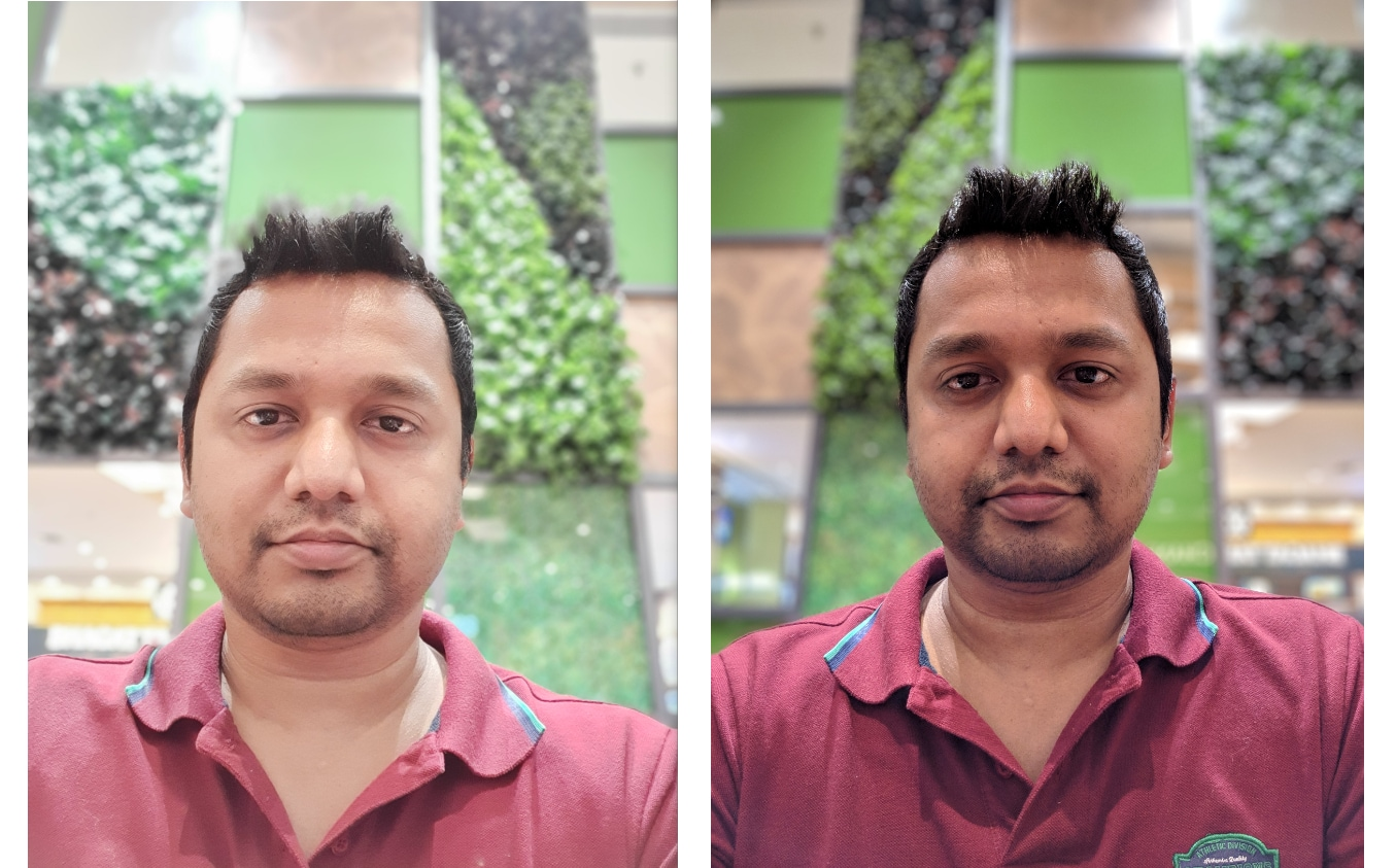 Galaxy S10e (L), Pixel 3 (R): The S10e clicks some great selfies, but they don't match the quality achieved by the Pixel 3.