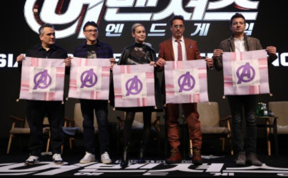 Avengers: Endgame stars Robert Downey Jr, Brie Larson, Jeremy Renner attend Seoul press tour