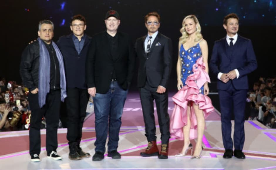 Directed by Joe (far left) and Anthony Russo, Avengers: Endgame sees the superheroes unite to fight Mad Titan Thanos who has wiped out half of the universe's population with the snap of his finger