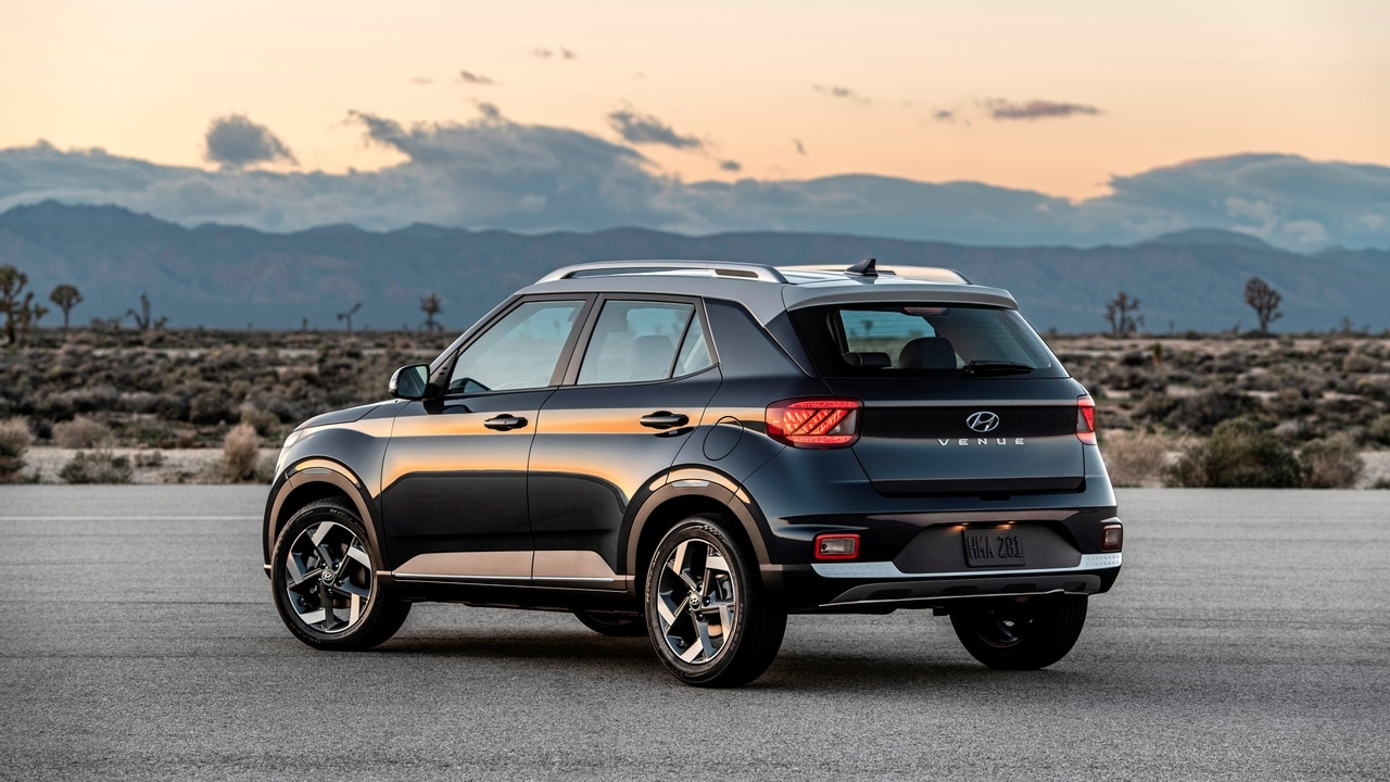 The SUV design elements including the full volume wheel arches and cascading front grille have been borrowed from the Kona and NEXO which are currently in sale in the US market.