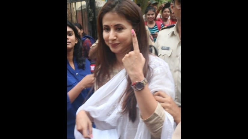 Actor-turned-politician Urmila Matondkar, who is contesting the elections from Mumbai- North, cast her vote in Bandra