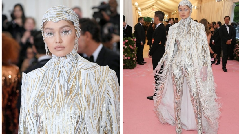 Gigi Hadid channeled an ice queen-meets-catwoman in her Michael Koes outfit. Twitter/@faveslooks