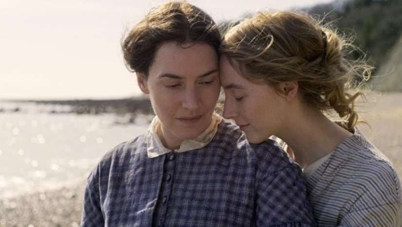 Kate winslet (left) and Saoirse Ronan in romantic drama Ammonite. Image from Twitter