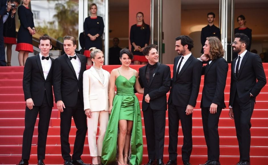The cast of Matthias and Maxime along with director-producer Xavier Dolan at Cannes red carpet. Twitter