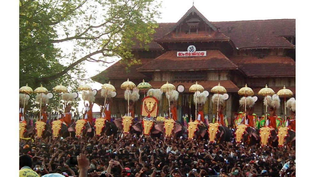 A file picture of Thrissur Pooram with caparisoned elephants. Photo by Ramesh N.G./Wikimedia Commons.