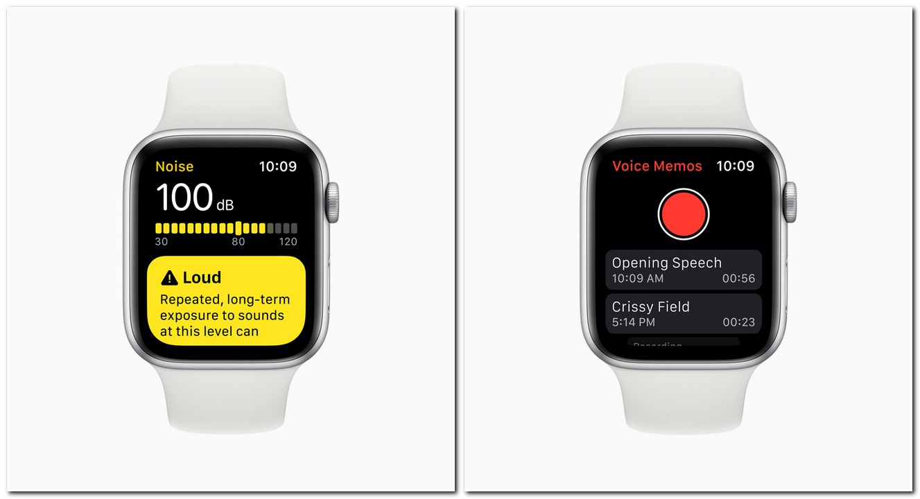 Noise tracker, voice memos on watchOS 6. Image: Apple