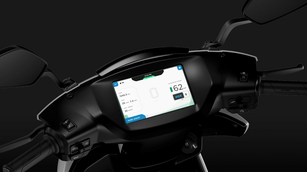 Ather 450 dashboard. Image: Ather Energy