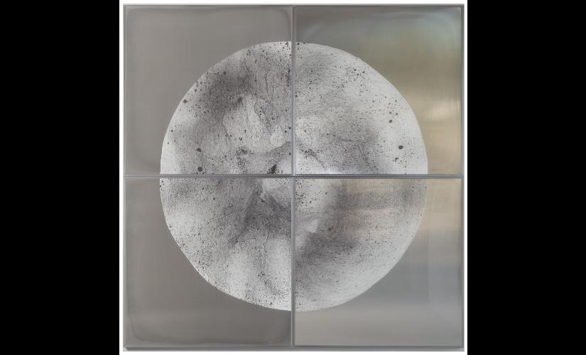 Verklärte Nacht (Transfigured Night) / Part VI, 2018. Ink on Xuan paper on mirror beneath linear Plexiglas, aluminium frame structure (4 panels). 240 x 240 cm / 96 x 96 in