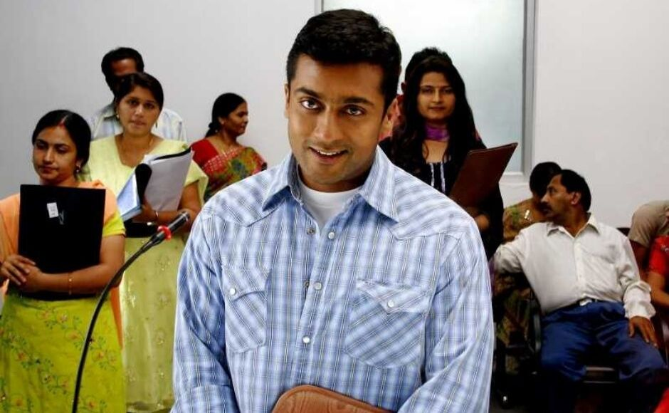 A young Suriya in Vaaranam Aayiram, a story about a father-son bond and how it matures through time. Image from Twitter