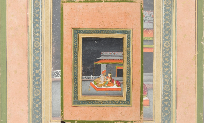 An example of a Provincial Mughal painting, titled 'Lovers on a terrace by moonlight'