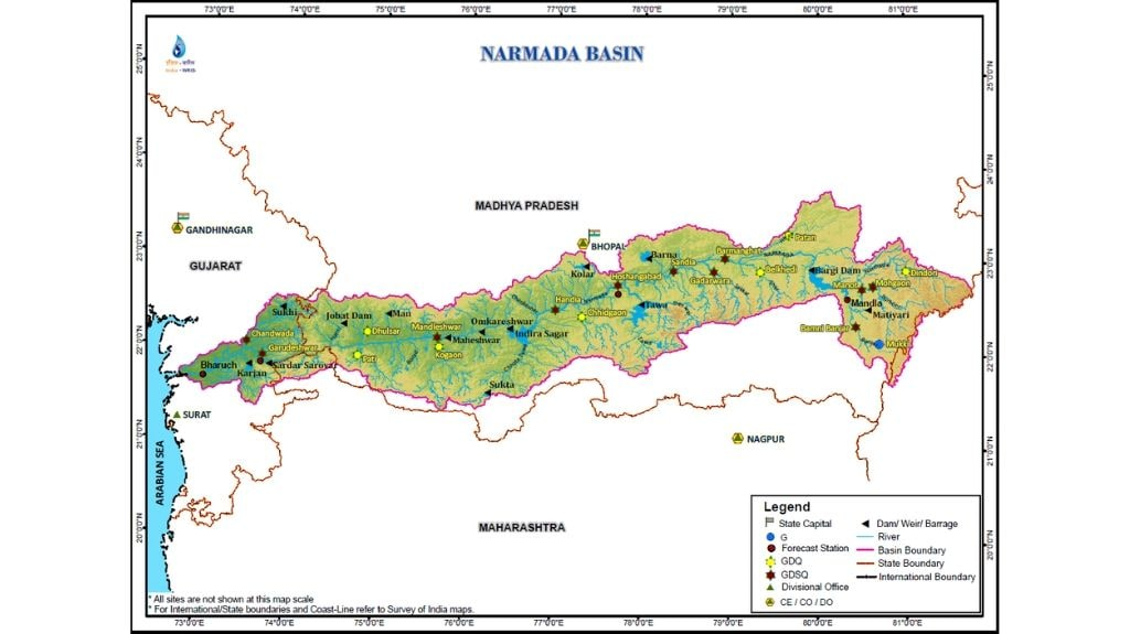 River basin map of Narmada which flows through Madhya Pradesh, Maharashtra and Gujarat. Map from Central Water Commission.