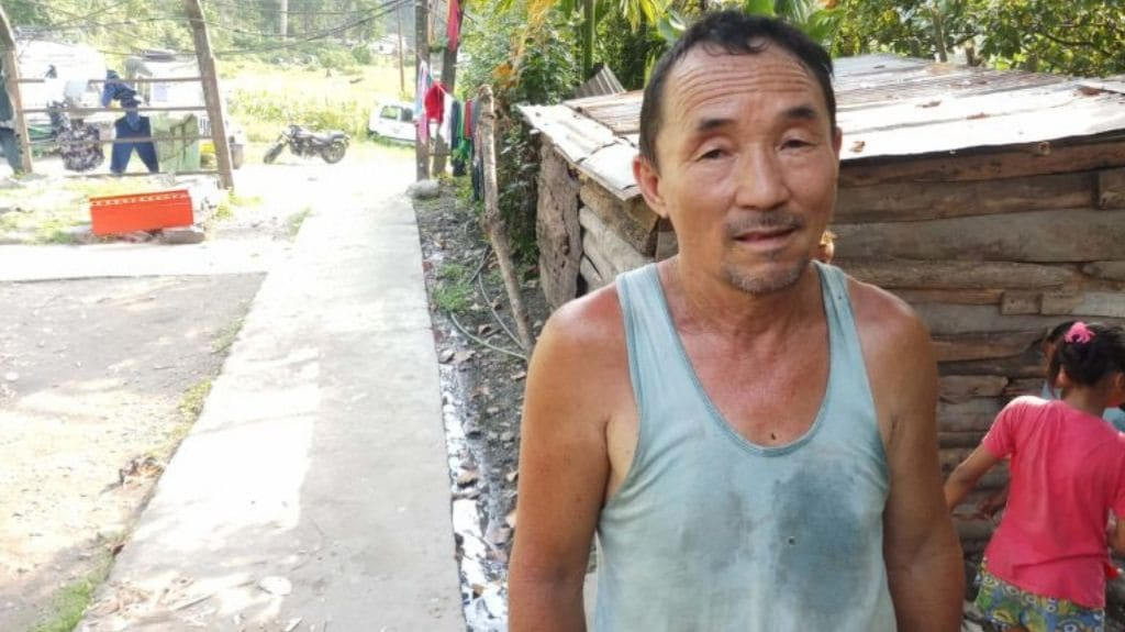 Rambahadur Rai who lives close to the Melli hilltop apprehends damage to groundwater resources from the rail link construction. Photo by Gurvinder Singh.
