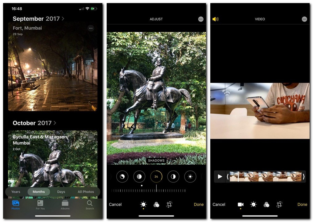 The Photos app has been revamped and videos now get the same editing pictures as photos. Image: tech2