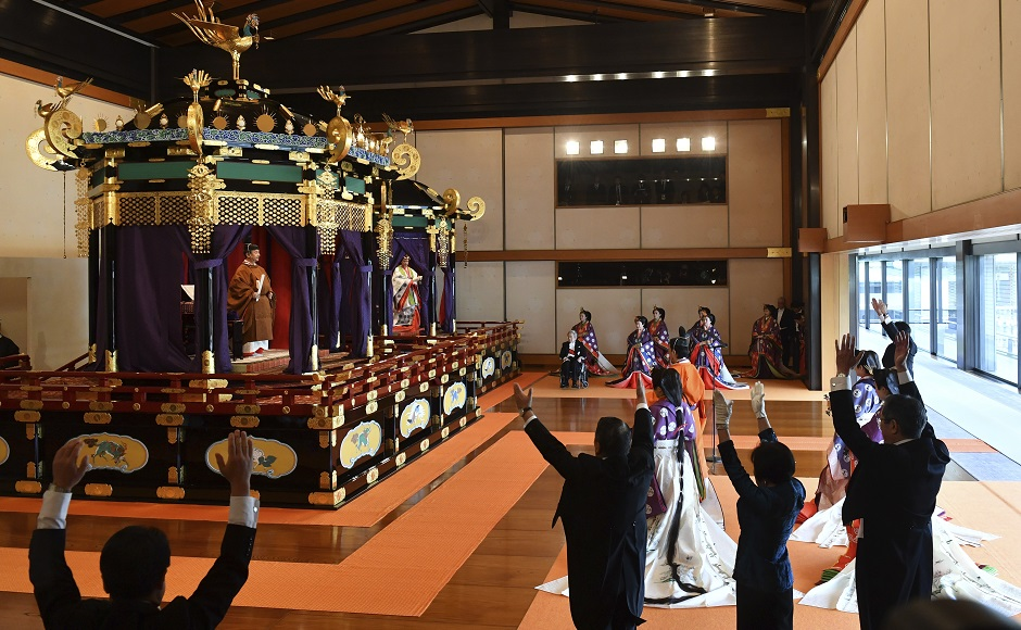 Japan Emperor Naruhito formally declares ascension to Chrysanthemum Throne, Shinzo Abe leads cheers of 'Banzai!'