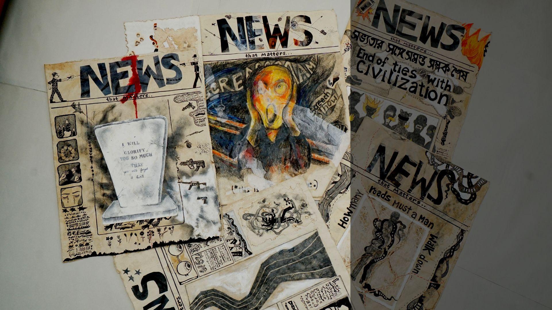 Turning newspapers into sculpture: Amritah Sen's unique art traverses fear, life's uncertainties and politics