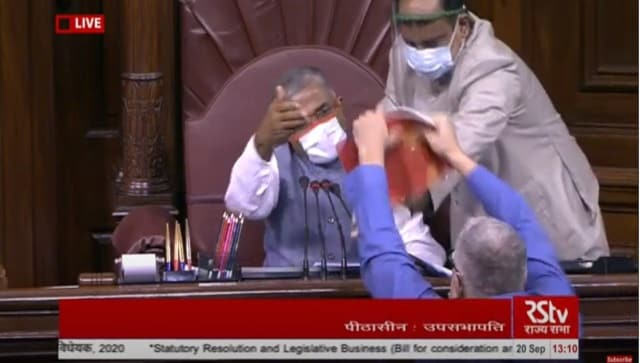 In Rajya Sabha, Opposition MPs sloganeer and tear official papers over passage of farm bills
