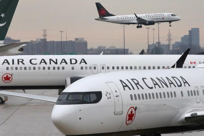 Air Canada pilots reviewing aircraft systems on Boeings MAX jets