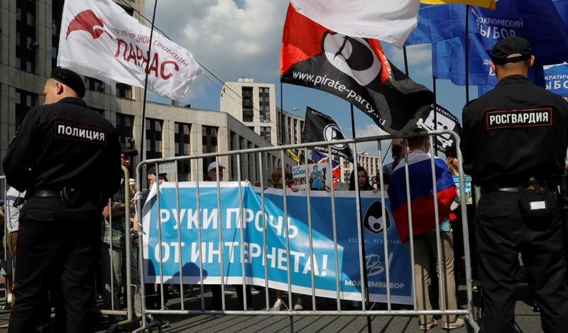 Protesters demand Russia stop blocking Telegram messenger app