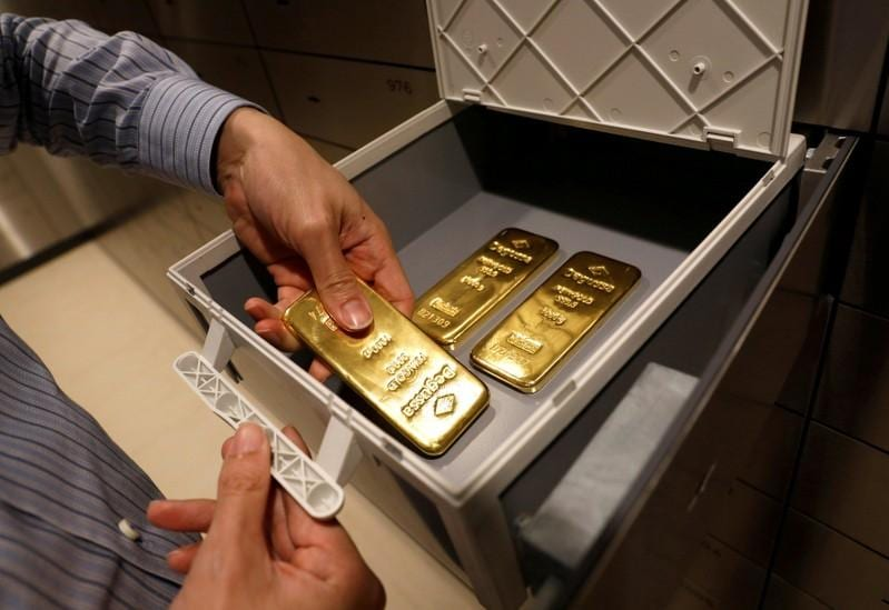 Gold eases as dollar gains ahead of Fed meeting minutes