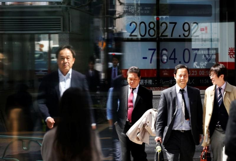 Asian shares seen slipping as risk sentiment sours, euro buoyant
