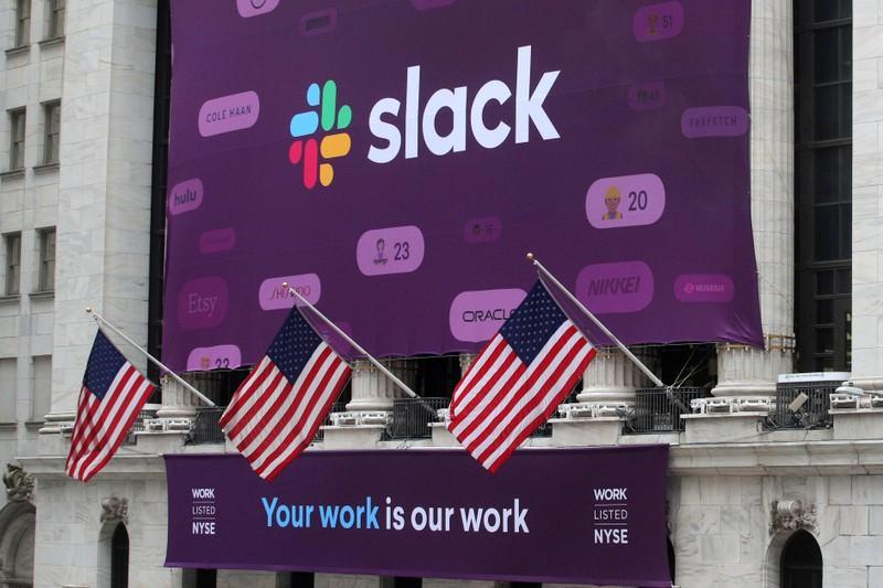 Slack stock surges at debut, values company at more than  billion